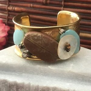 Chico's Mix Media Gold Tone Cuff Bracelet